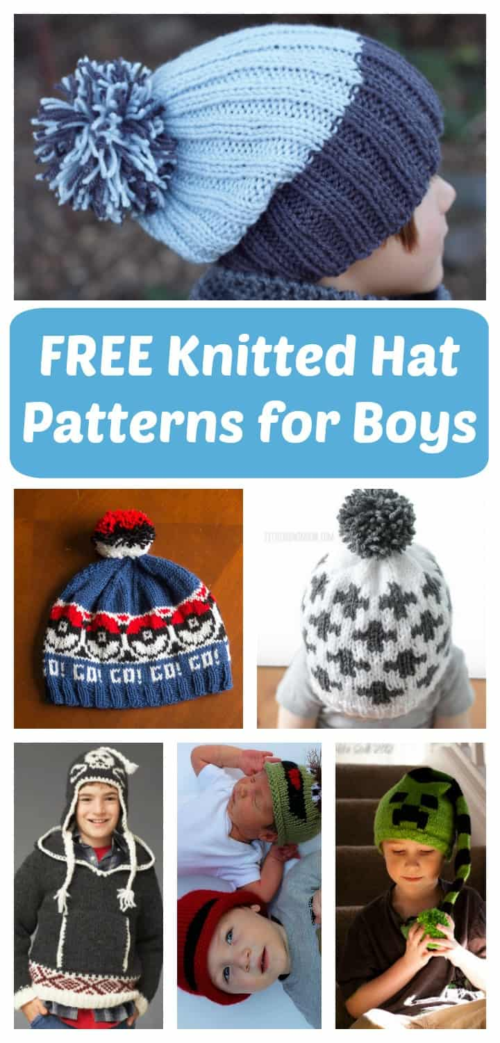 5bb49c29acd The HUGE List Of Free Knitted Hat Patterns For Boys - Little Miss Kate