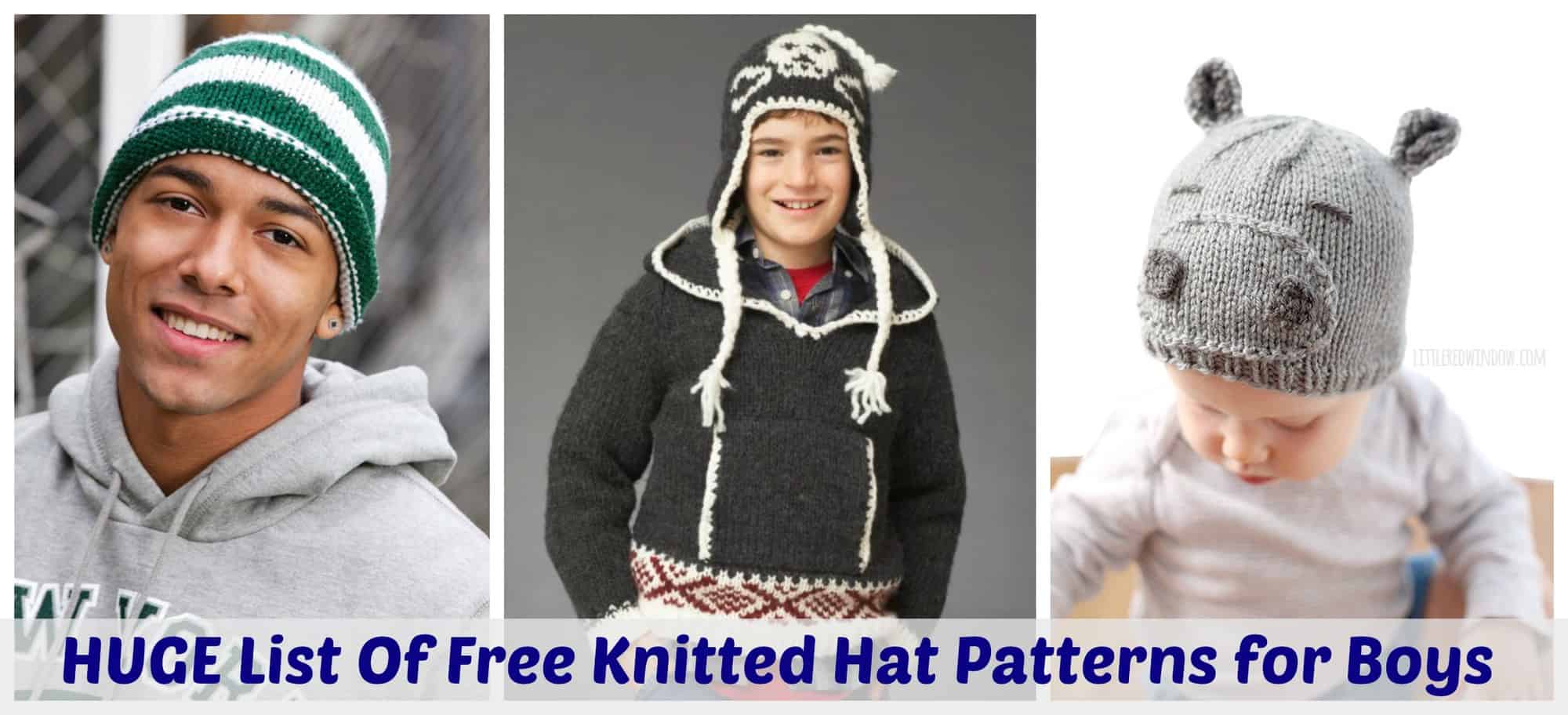 The HUGE List Of Free Knitted Hat Patterns For Boys