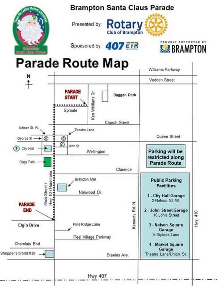Brampton Santa Claus parade route 2019