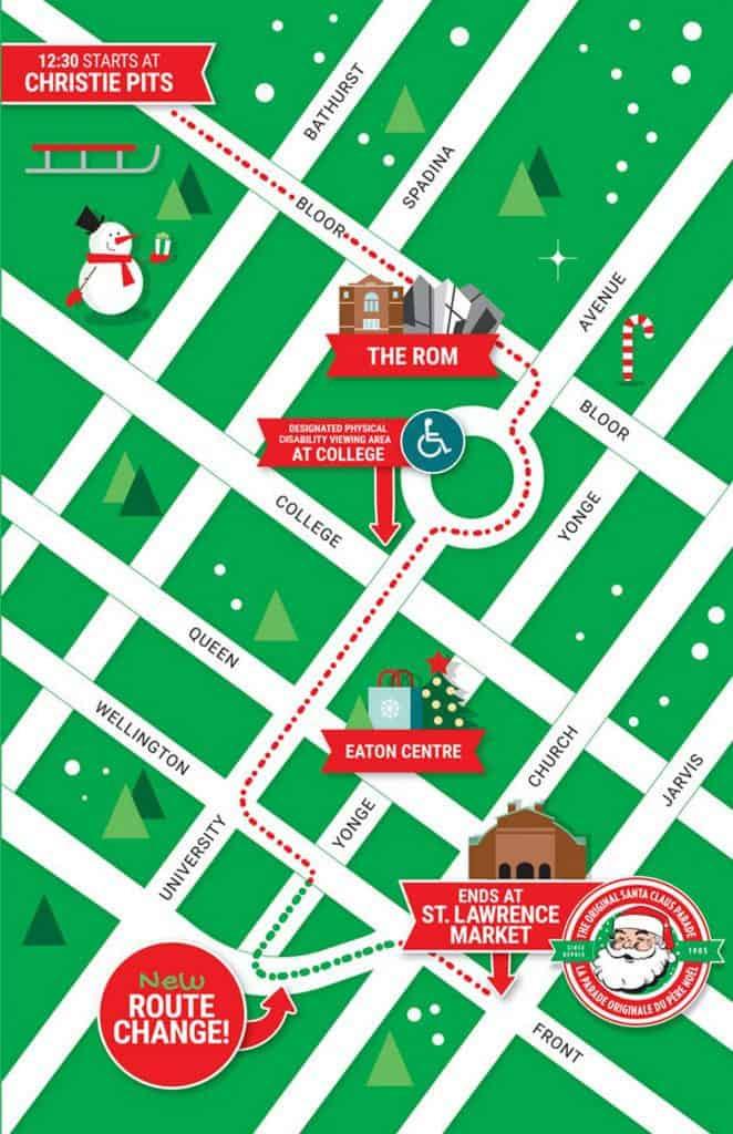 toronto santa claus parade map 2019