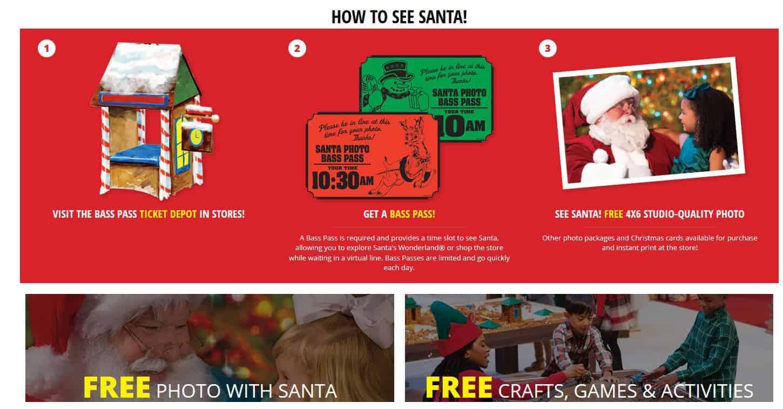 Bass Pro Shop Free photos with santa tickets