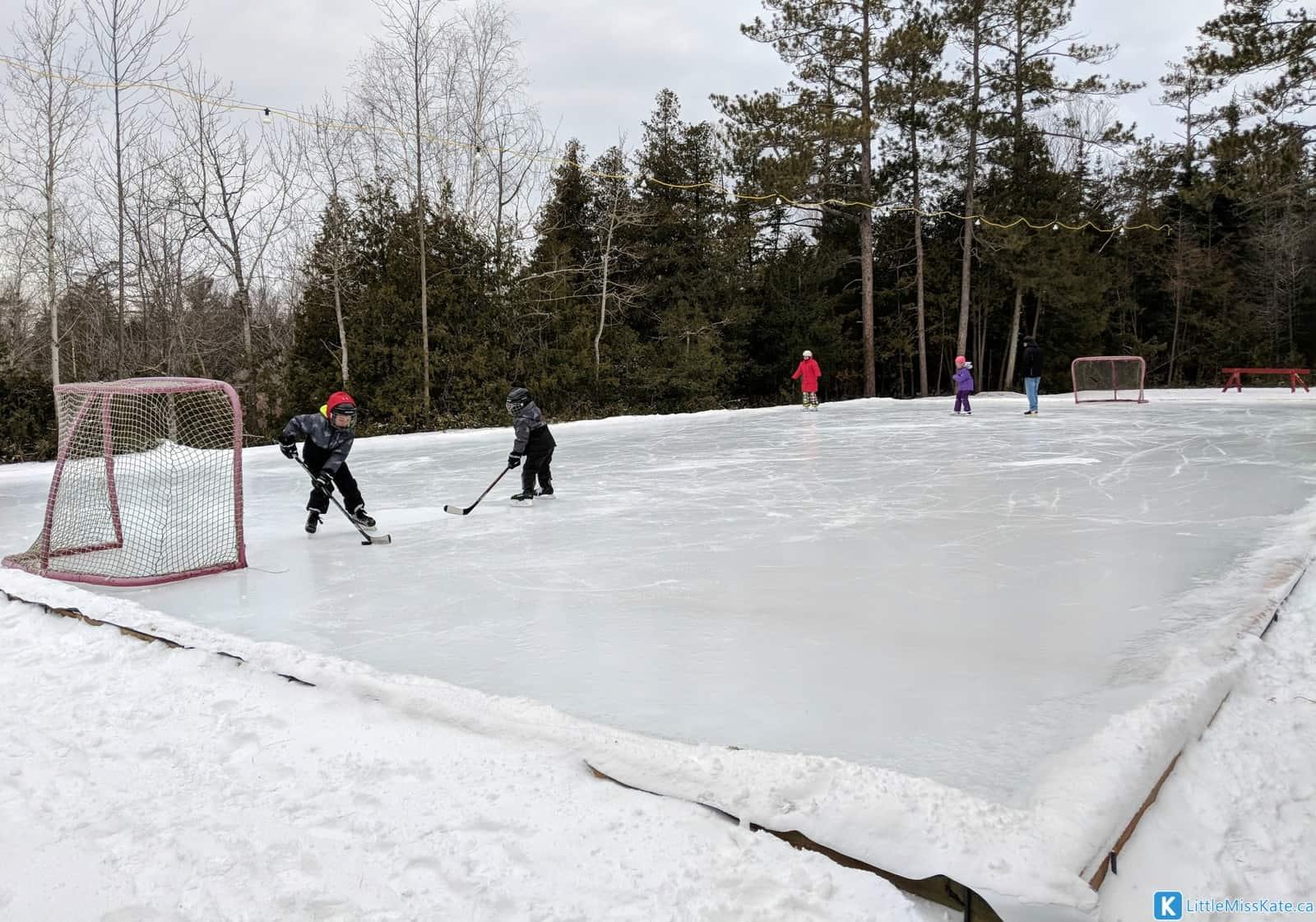 MacGregor Point winter camping activities ice pad outdoor hockey rink