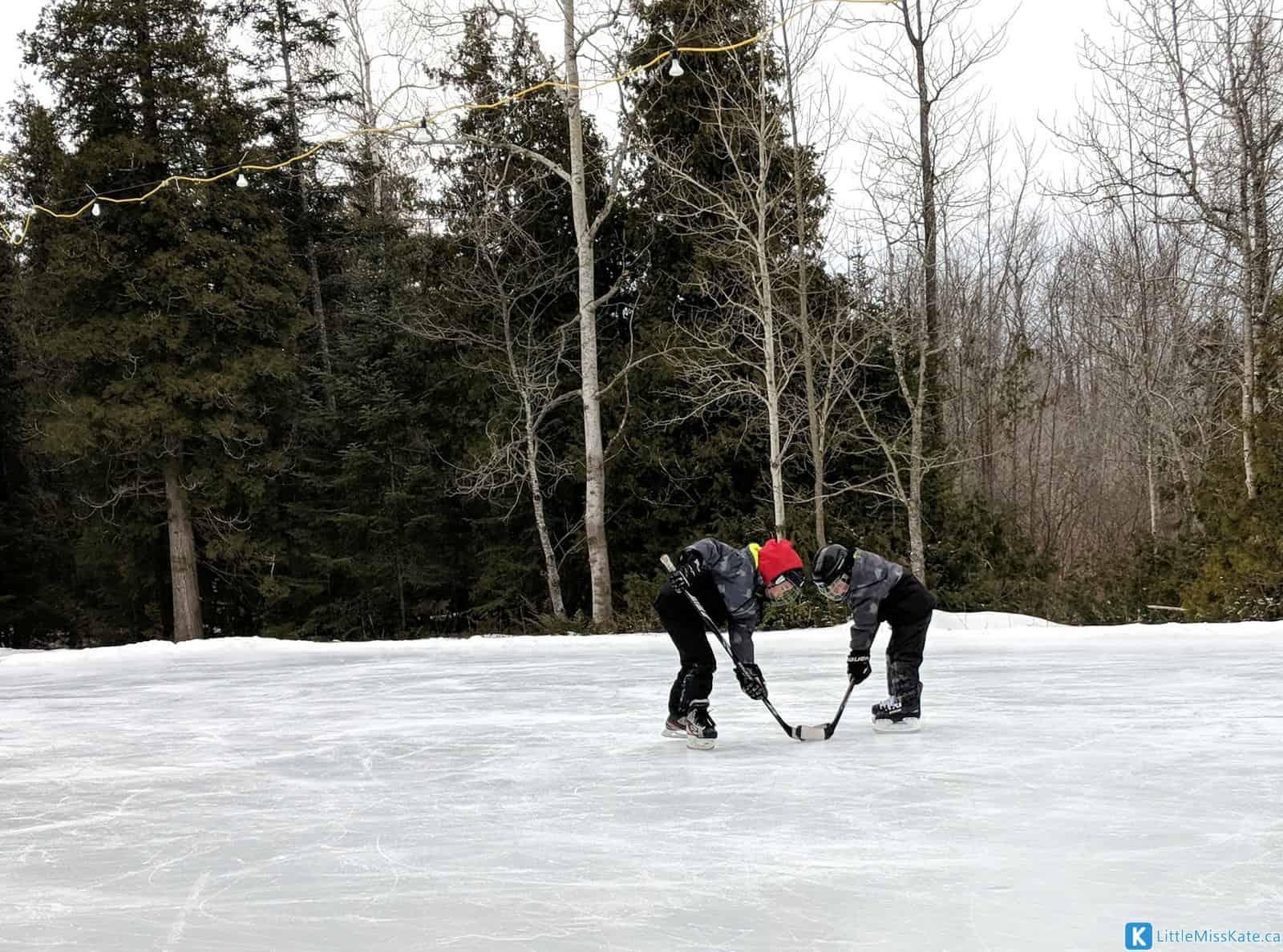 MacGregor Point ice pad outdoor hockey rink