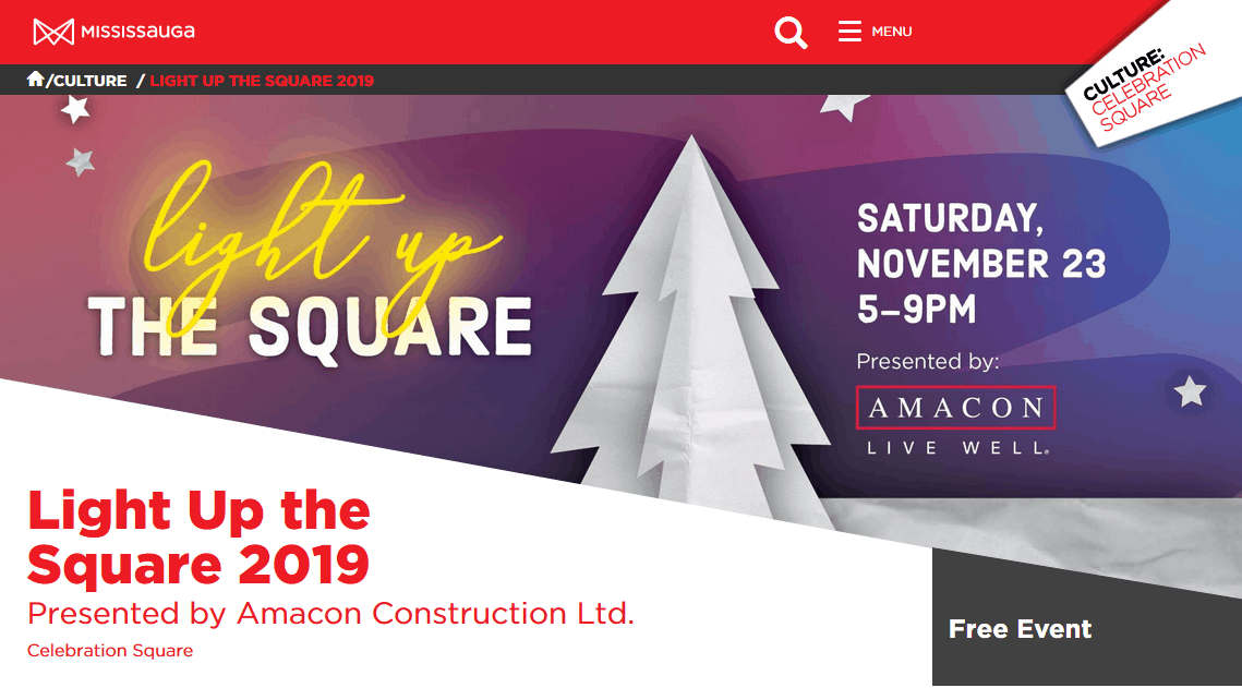 Light Up The Square Mississauga Christmas Tree Lighting
