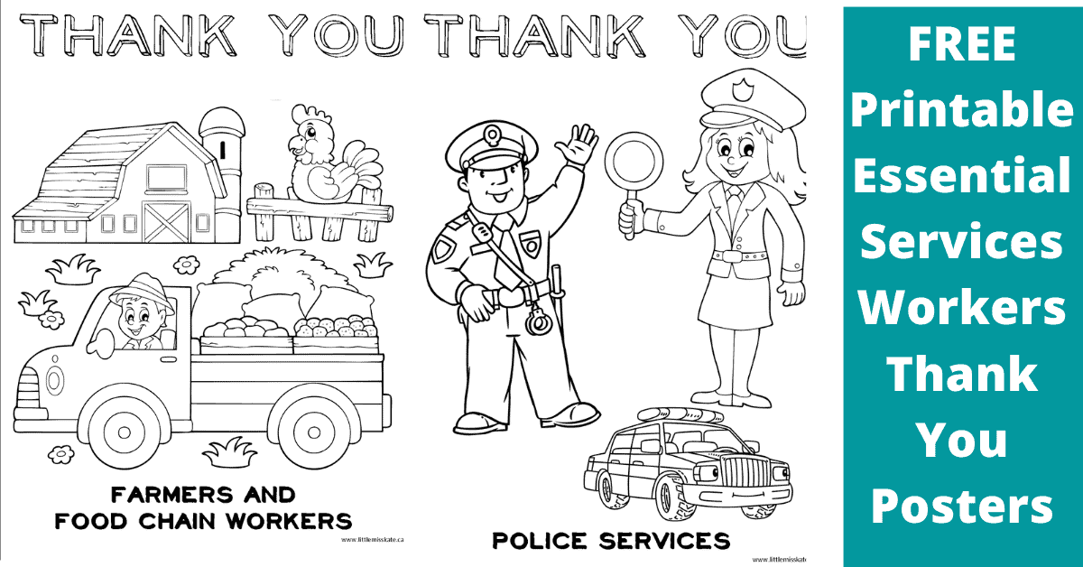 Free Printable Thank You Posters And Cards For Front Line And Essential Workers Kate Company