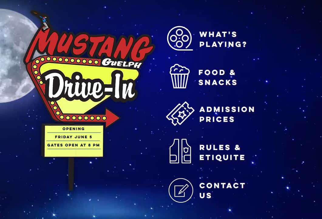 mustang Drive In Movie theatre Guelph near brampton and mississauga