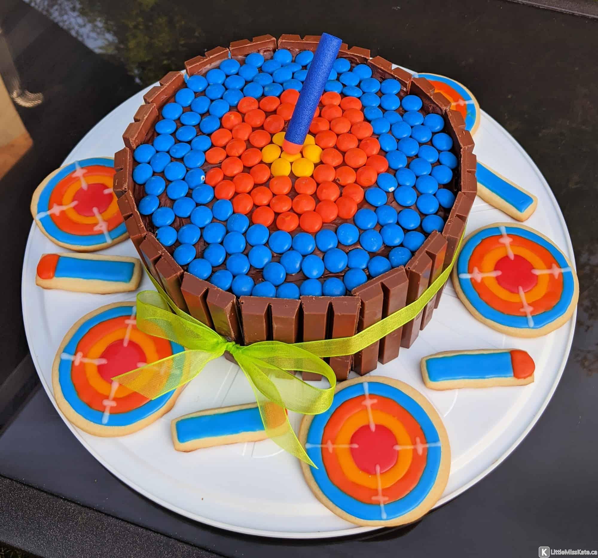 Nerf gun sugar cookies and cake idea